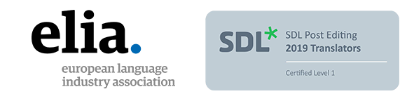 ELIA European Language Industry Association and SDL Post Editing Certified Members